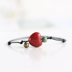 Red Heart Leather Anklet